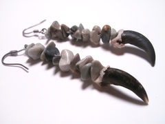 Women's Coyote Earring - this pair of real Claw Earrings is made using Coyote Claw bones and gray tumblestones. Southwestern fashion bone jewelry.