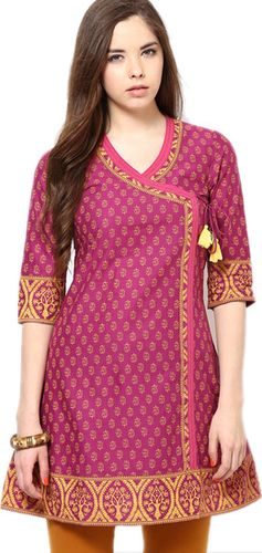 Fuschia Cotton Printed Kurta - Aurelia Kurtas & kurtis for women | buy women kurtas and kurtis online in indium
