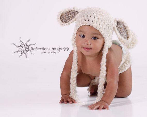 Baby Hat Crochet Lamb Baby Hat Costume Toboggan by TheTwistedK, $22.00