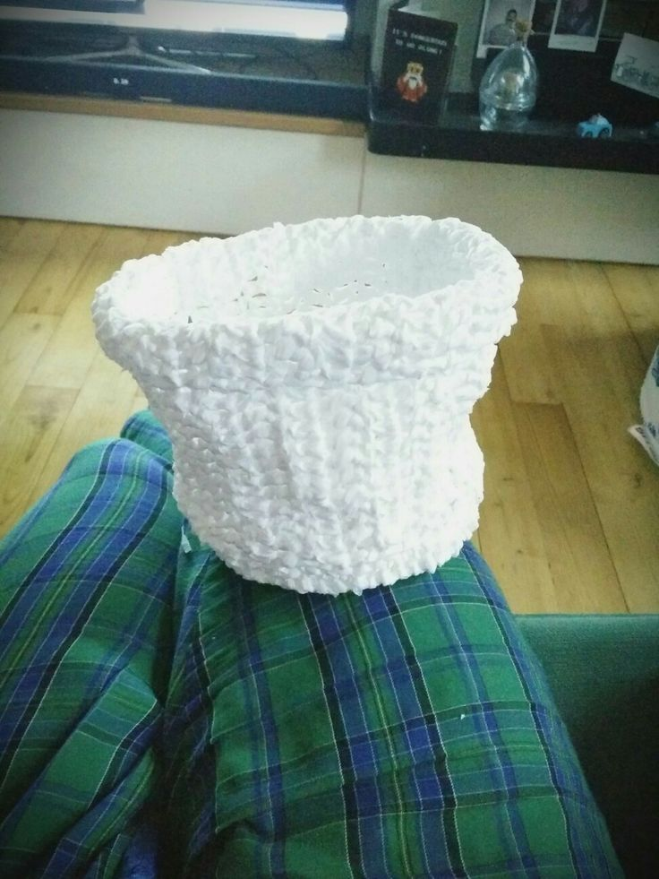 Plastic bags become a plastic basket #crochet#recycling