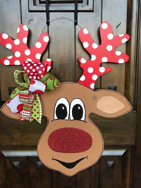 Adorable Reindeer door hanger