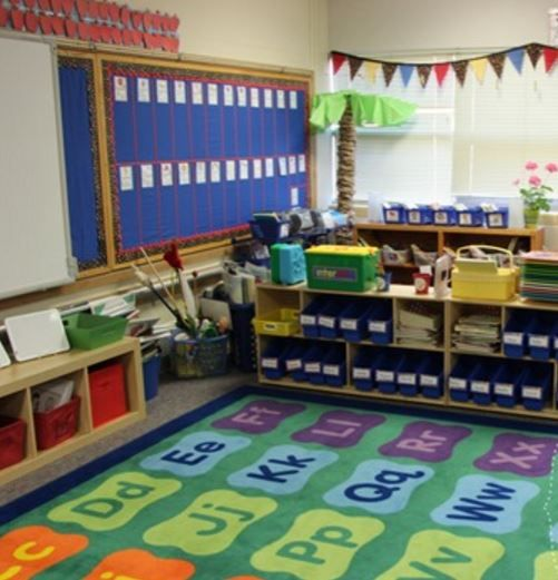 Your classroom rug is the go-to meeting spot for your class.In addition to story time, it can be used to help kids who are struggling with learning their ABCs. Classroom carpets define the space, provide specific spaces for bodies, and cushions bottoms. Find this rug and many more at: http://www.sensoryedge.com/pages/classroom-rugs photo by:http://growingkinders.blogspot.com/2013/08/a-classroom-tourfinally.html
