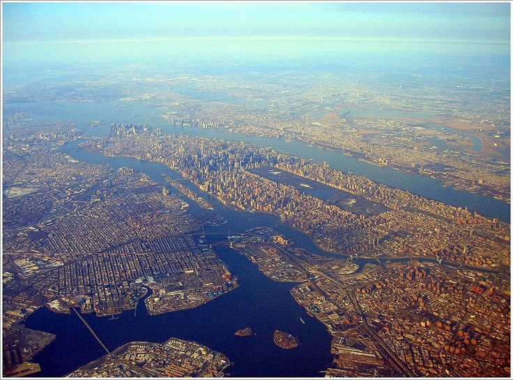 Gorgeous aerial view of Bronx, Manhattan, Queens, Brooklyn and Staten Island with New Jersey