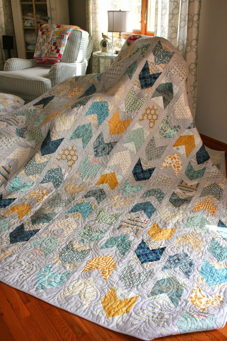 Sewn With Grace: Lovely quilt that she made for a wedding present using the Pow Wow pattern from Cluck Cluck Sew