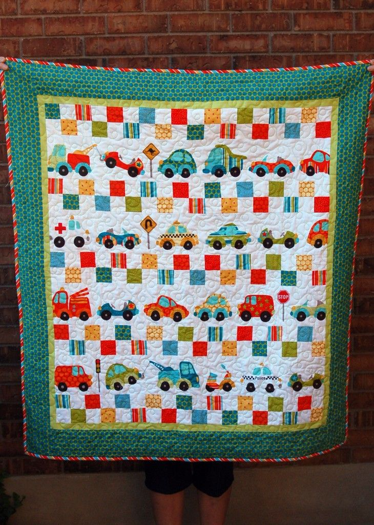 Maybe a layout similar to this with the go cute car for Boy quilt fabric