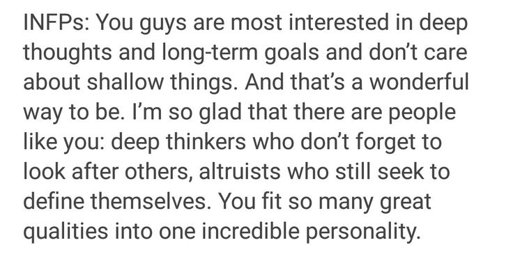 INFP. Myers Briggs personality test.