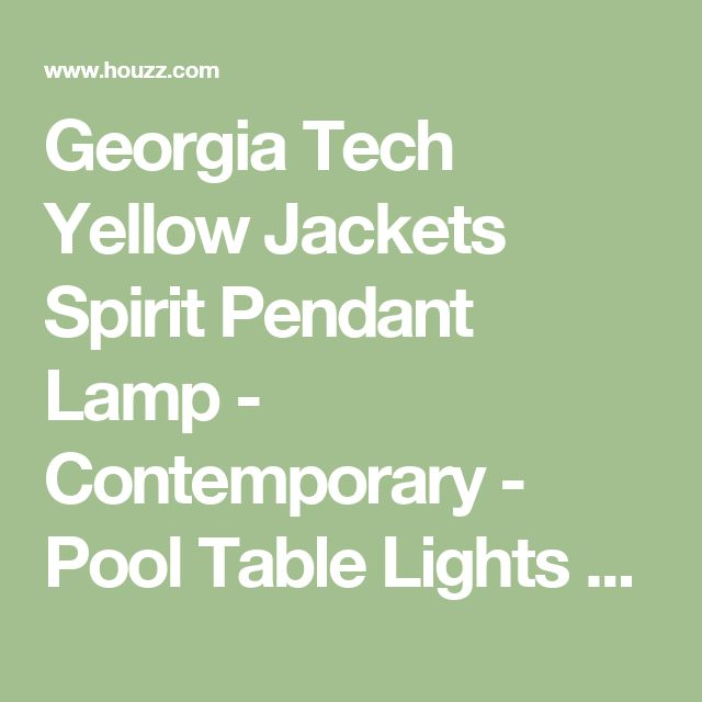 Georgia Tech Yellow Jackets Spirit Pendant Lamp - Contemporary - Pool Table Lights - by Team Sports