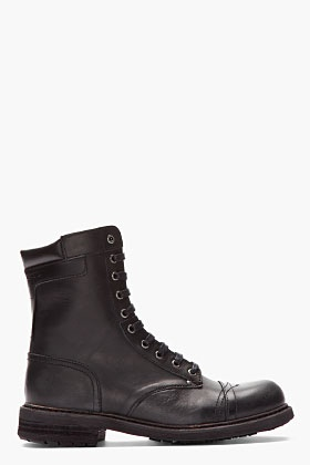 DIESEL Black leather Cassidy combat boots