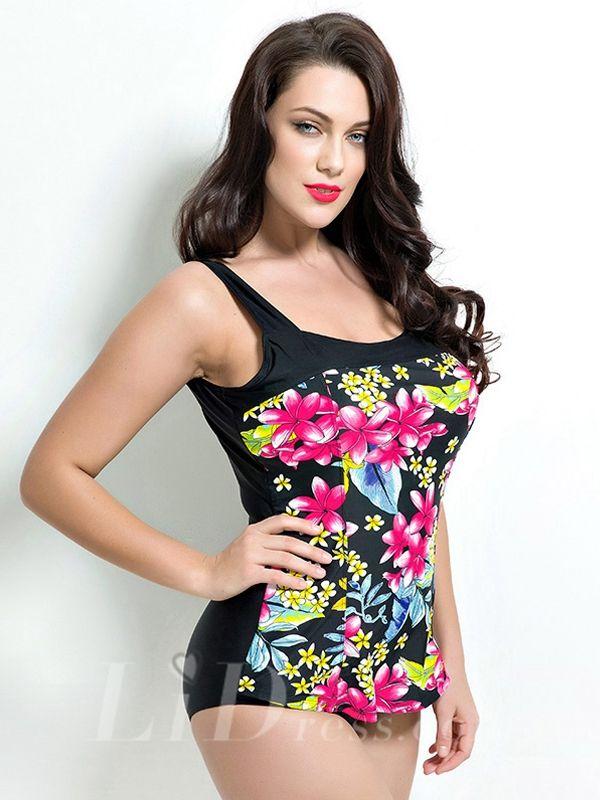 Floral Plus Size One-Piece Swimwear Lidyy1605201024