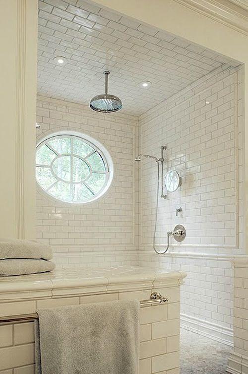 .great showerOpen Shower, Shower Head, Subwaytile, Dreams, Tile Shower, Master Bath, White Bathroom, White Subway Tiles, Tile Bathroom