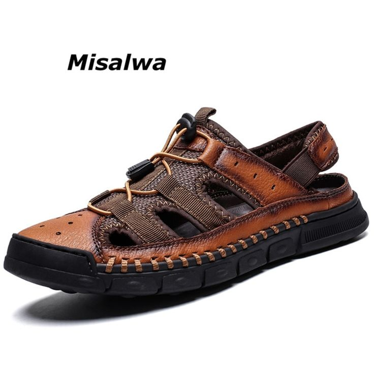 Misalwa Large Size Classic Men Sandals Casual Beach Shoes Roman Leather Protective Summer Casual Shoes Slippers Holiday Flats