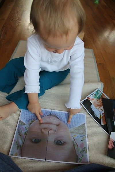 Simple picture puzzle for younger toddlers. I do this with calendar pictures.