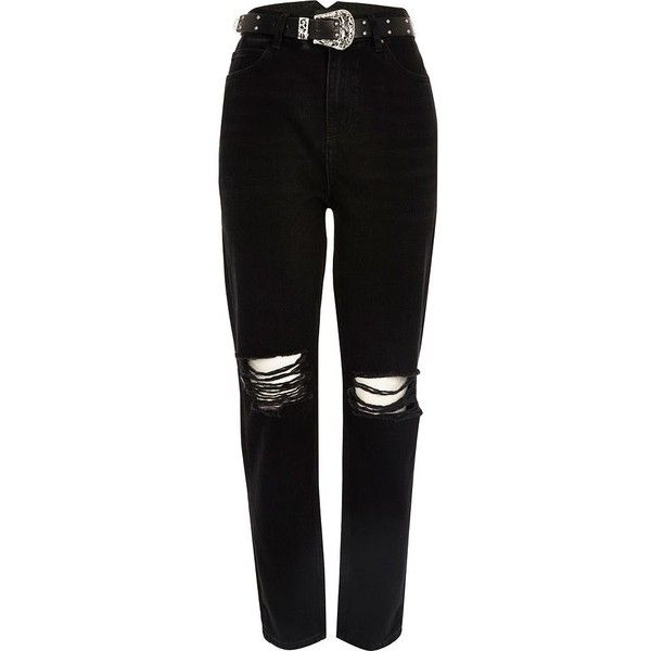 River Island Black ripped Western belt Mom jeans ($55) ❤ liked on Polyvore featuring jeans, pants, destruction jeans, distressing jeans, ripped denim jeans, zipper jeans and cowgirl jeans