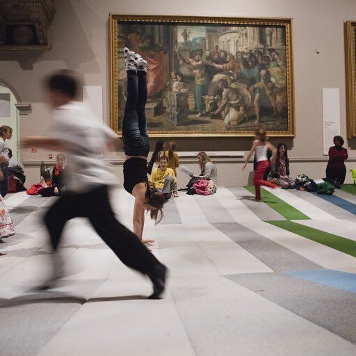 Children playing on a soft Hallingdal meadow in the Raphael Gallery at Victoria and Albert Museum.  Textile Field designed by Ronan & Erwan Bouroullec for London Design Festival 2011.