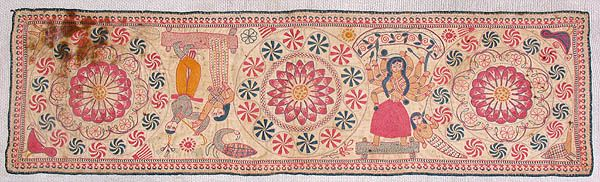 "Arsilata Kantha C. 19th Century A.D. Size:14""X 8"" Khulna Undivided Bengal A collection of the Gurusaday Museum, Joka, Kolkata Arsilata kant..."