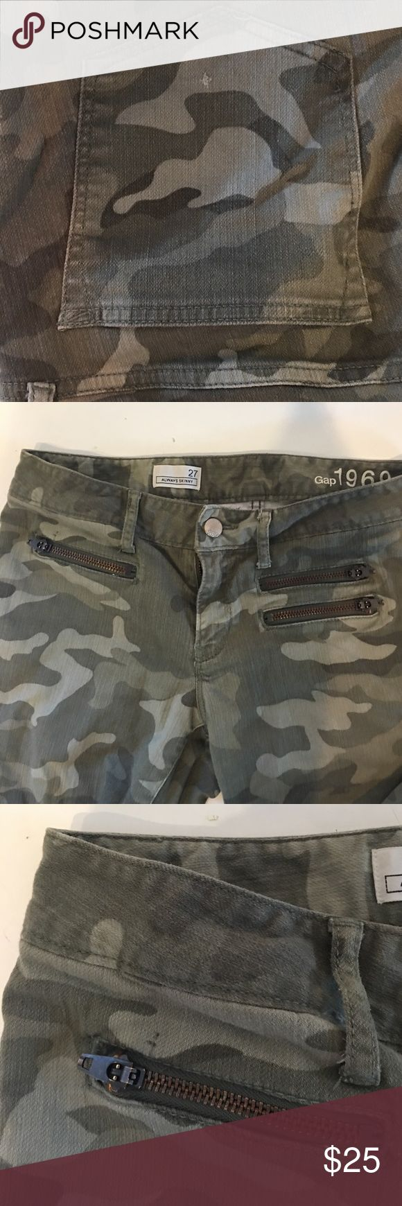 Army Camouflage Skinny Jeans Minor snag in right back pocket and on left shin. Small pen mark above left pocket zipper. Size 27. Comfortable and flattering. GAP Jeans Skinny