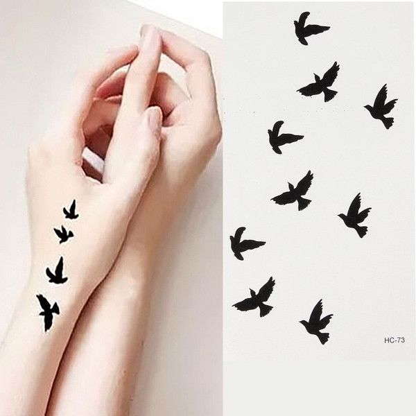 Bird Pattern Design Temporary Water Transfer Tattoo Sticker Body Art ❤ liked on Polyvore featuring accessories and body art