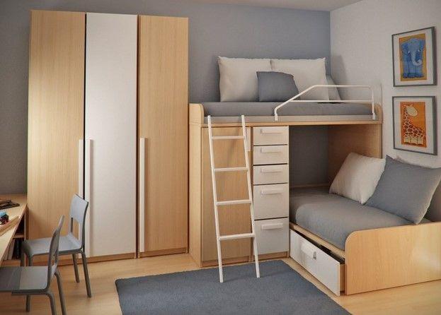 Desain Kamar Kost Simpel Elegan Terbaru 8 - Ide 2 Bed dalam satu Kamar Tidur