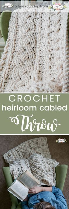 Get the free crochet pattern for this heirloom cabled throw blanket afghan from …
