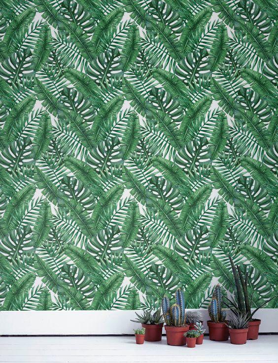 Banana and Monstera leaf Wallpaper Removable Wallpaper by Jumanjii