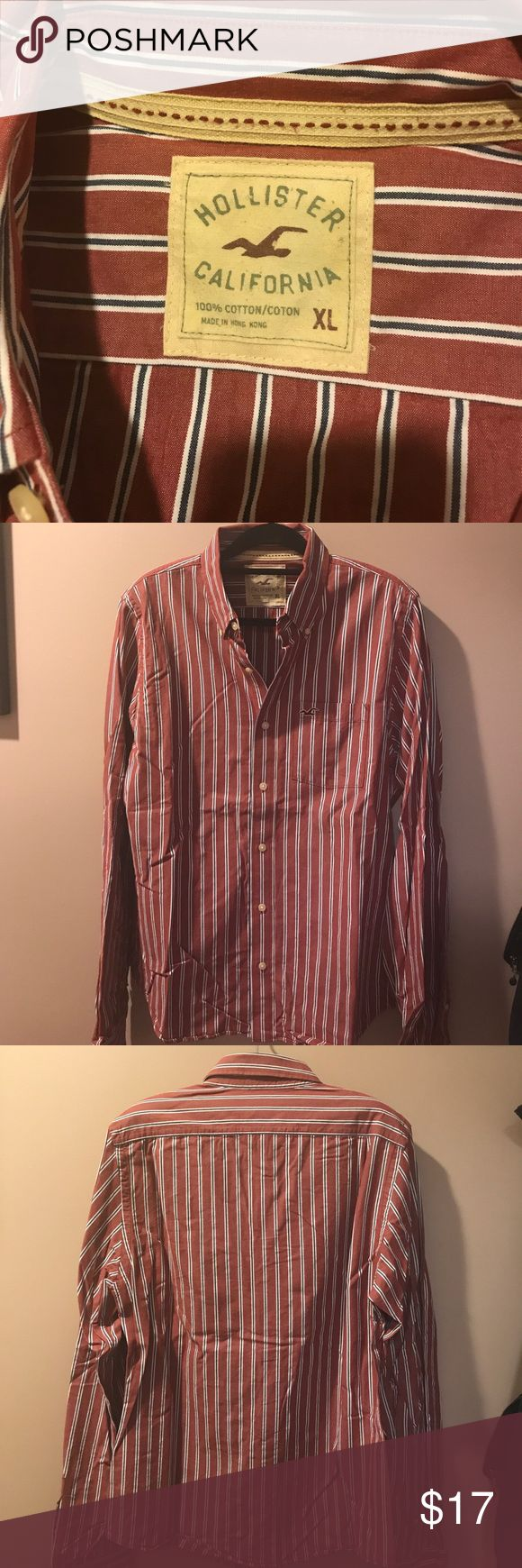 Hollister California Button Down Striped Shirt Hollister California Button Down Shirt. Dark red with white and navy stripes with Button down collar. Gently used but in excellent condition. From smoke free house. Hollister Shirts Casual Button Down Shirts