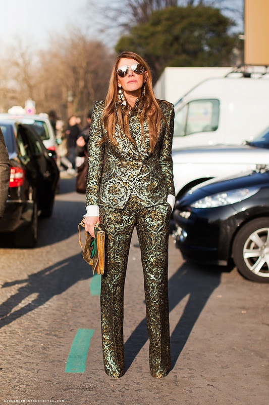 suit, mirrored shades Anna Dello Russo...