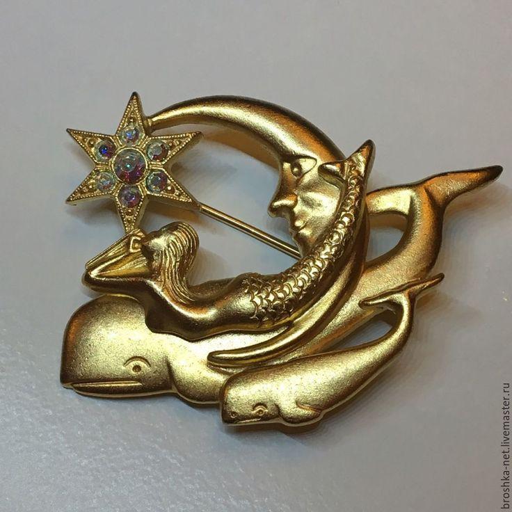 """Купить Брошь Kirks Folly """"Дельфин и русалка"""" - золотой, брошь, винтажная брошь, стильное украшение"""