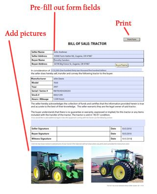 Tractor Bill Of Sale Template Example Sample Office