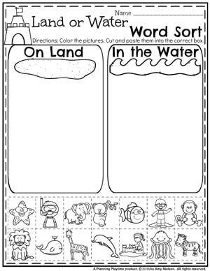 Ocean or Land Word Sort - Summer Preschool Worksheets