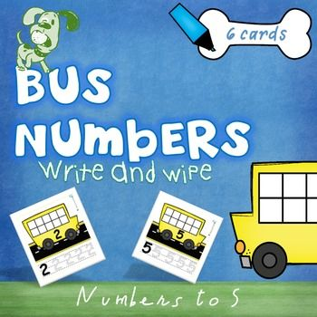Math - Bus Numbers (1-5) Write & Wipe - Early counting & numeral recognition. This printable PDF has 6 write and wipe cards for numbers 0-5 along with a black and white worksheet to use as an assessment tool or record of work. Children are asked to read the numeral and put the correct number of dots in each bus (tens frame) and then practise writing each number underneath.