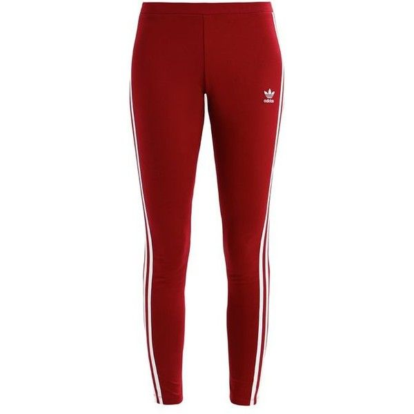 adidas Originals Leggings ($39) ❤ liked on Polyvore featuring pants, leggings, red pants, red striped leggings, red trousers, red stripe pants and legging pants