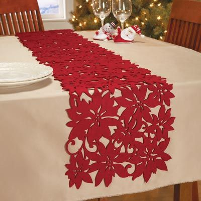 Red Felt Die Cut Poinsettia Table Runner