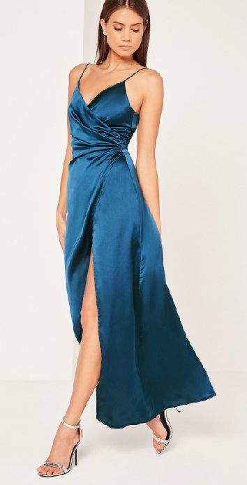 Blue satin maxi dress