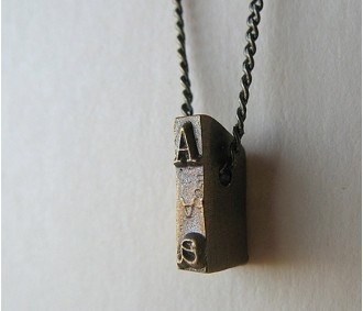 Vintage typewriter Strikeplate necklace.
