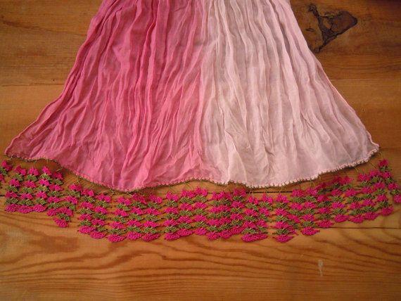 long cotton scarf pink red handmade crochet edging