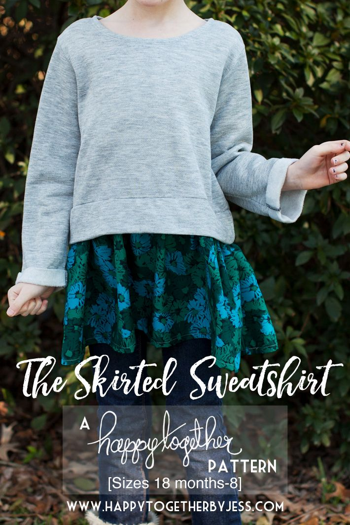 Free Girls Sewing Pattern: The Skirted Sweatshirt sizes 18 months - 8 | happy together