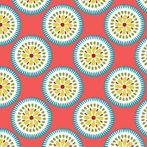 Sunburst Flower Coral fabric by littlerhodydesign on Spoonflower - custom fabric
