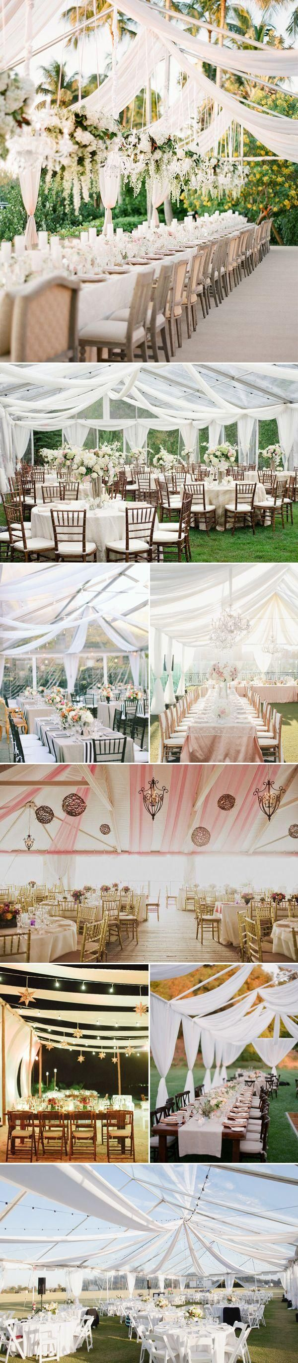 40 Beautiful Ways to Decorate Your Wedding Tent - Draped Fabric #outdoor