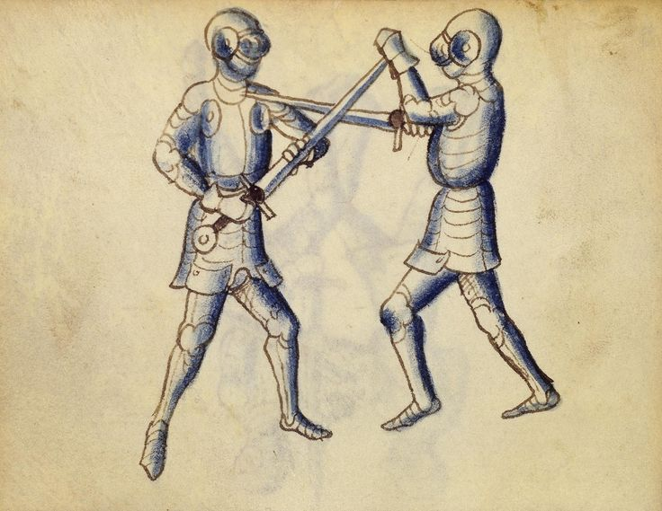 Cod. 11093, 28v: Book on Swordsmanship and Wrestling, mid-15th c. Austrian National Library, Public Domain
