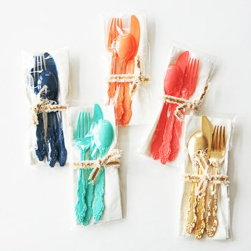 """Pretty plastic flatware will razzle dazzle at your next party or picnic! Features ornate detailing 7"""" Set includes one fork, knife, spoon, and napkin Priced per"""