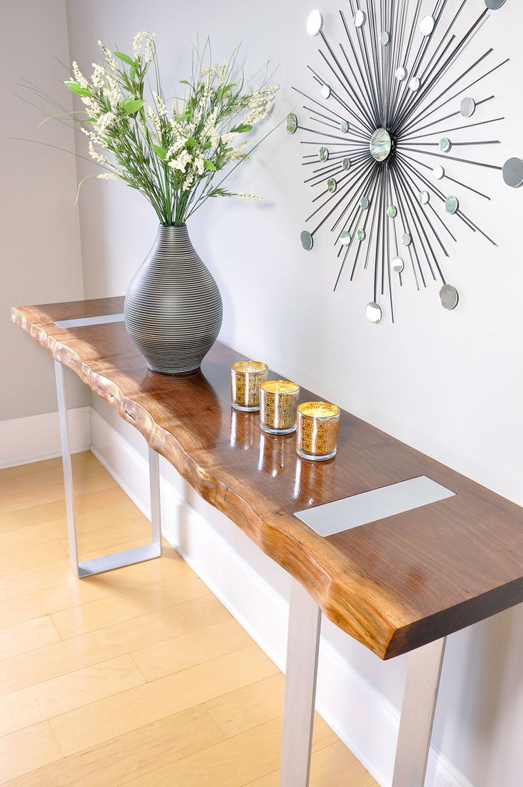 walnut console table with painted metal legs walnut modern console metal live edge minimal