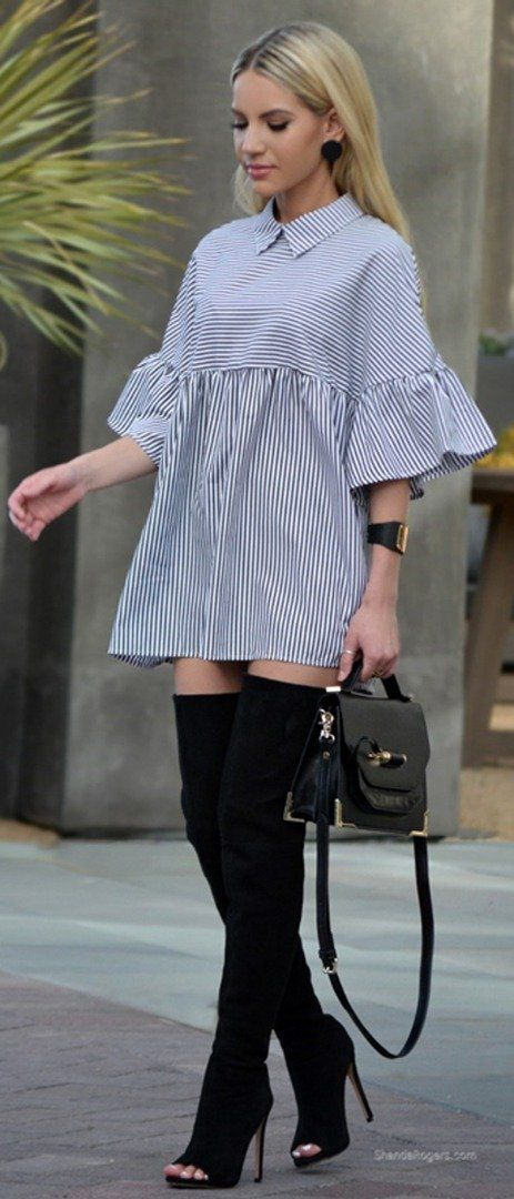 Cool striped dress with high-knee boots