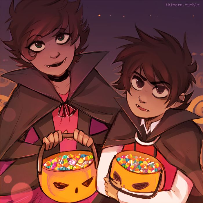 somebody asked for Karkat in a vampire outfit so I thought maybe he and Kanaya could go trick or treating in matching outfits or something eheh
