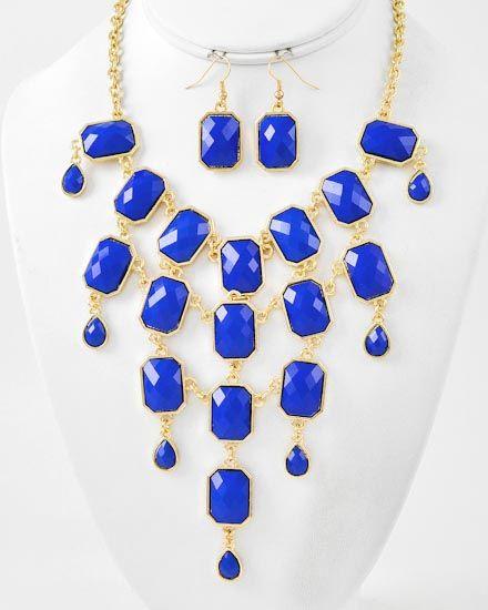 Gold Tone / Blue Acrylic / Lead Compliant / Charm Necklace & Fish Hook Earring Set