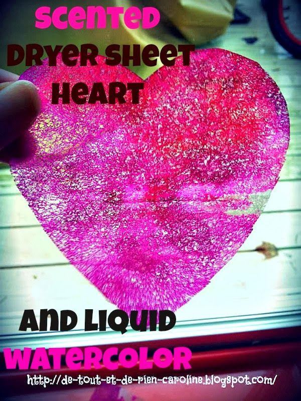 Scented dryer sheet heart and liquid watercolor