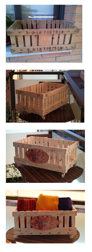 caja de frutas de los aos comprada en los encantes para mantener en orden