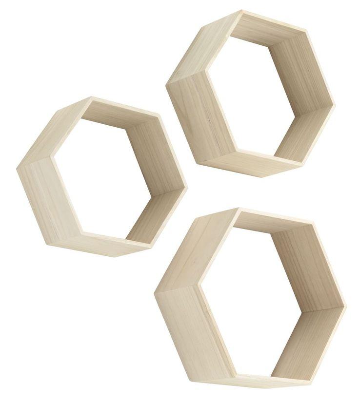 Pe raftul de perete ILBRO in forma de hexagon iti poti expune cele mai frumoase decoratiuni. | JYSK