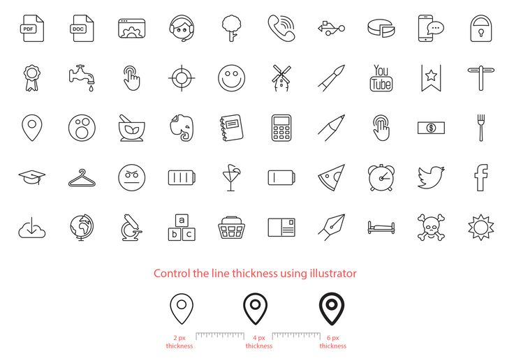 Vector line icons free set