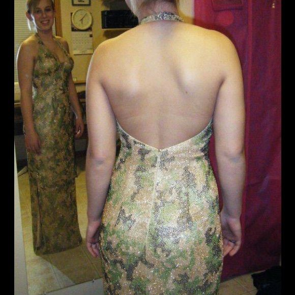 Fully Beaded Custom Camouflage Prom Dress! Worn only once! $400 New! Asking $100! Custom made! Fully beaded! Gorgeous dress! Custom Design Dresses Prom