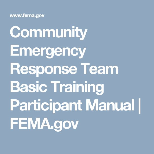 Community Emergency Response Team Basic Training Participant Manual | FEMA.gov